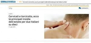 Cervicali e torcicollo, ecco le principali insidie dell'estate per due italiani su dieci - Giornale di Sicilia 2015-07-17 17-47-04