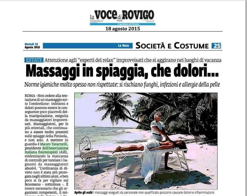 Rassegna stampa Massaggi in spiaggia
