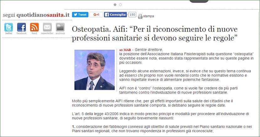 AIFI su QS in merito a osteopatia e ddl responsabilità professionale