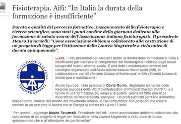 """Fisioterapia. Aifi: """"In Italia la durata della formazione è insufficiente"""""""