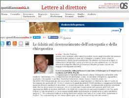 Le falsità sul riconoscimento dell'osteopatia e della chiropratica