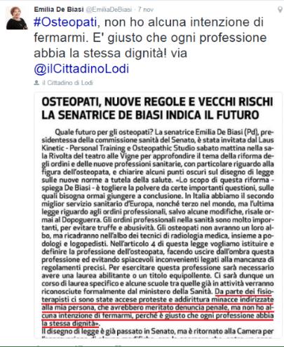 Il tweet della Onorevole Emilia De Biasi