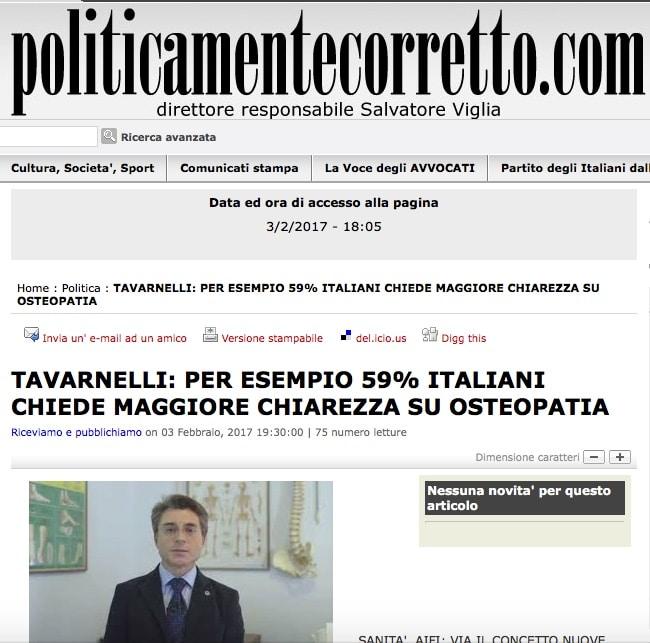 TAVARNELLI: PER ESEMPIO 59% ITALIANI CHIEDE MAGGIORE CHIAREZZA SU OSTEOPATIA