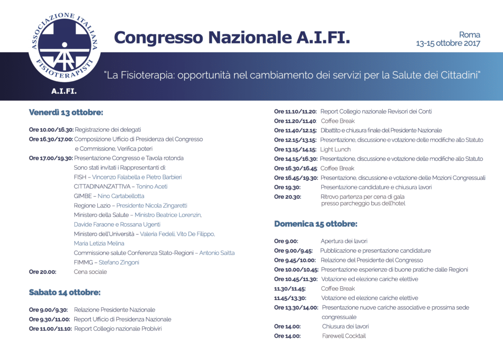 programma congresso politico AIFI 2017