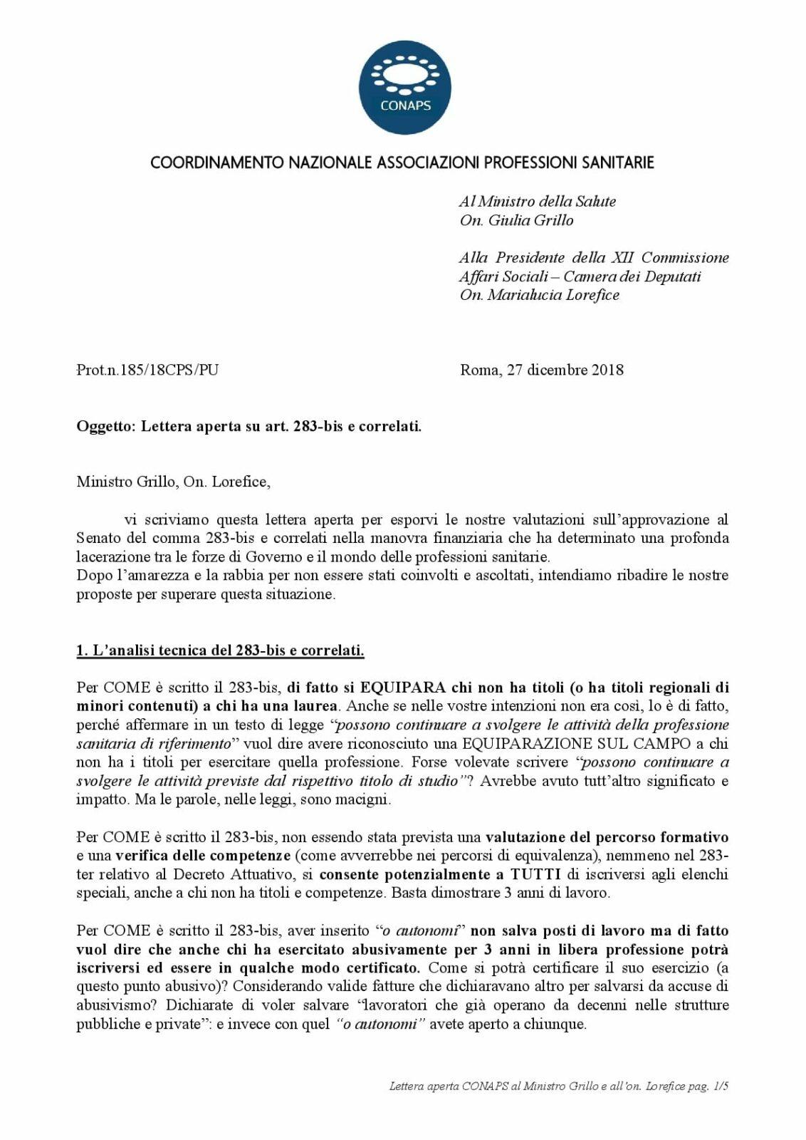 Lettera aperta CONAPS al Ministro Grillo e a on Lorefice 001