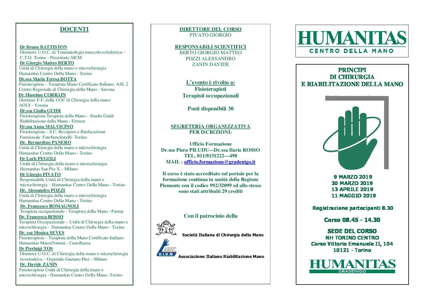Principi di Chirurgia e Riabilitazione della Mano HUMANITAS