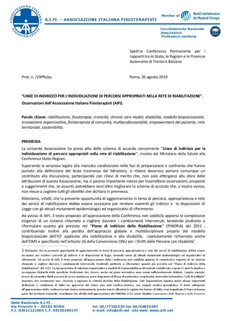 Osservazioni AIFI percorsi riabilitazione pdf
