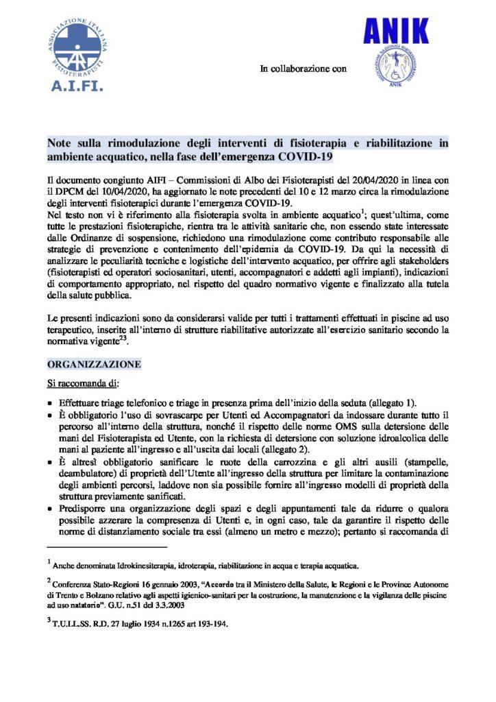 Note sulla rimodulazione degli interventi idrokinesiterapici in setting ..  pdf