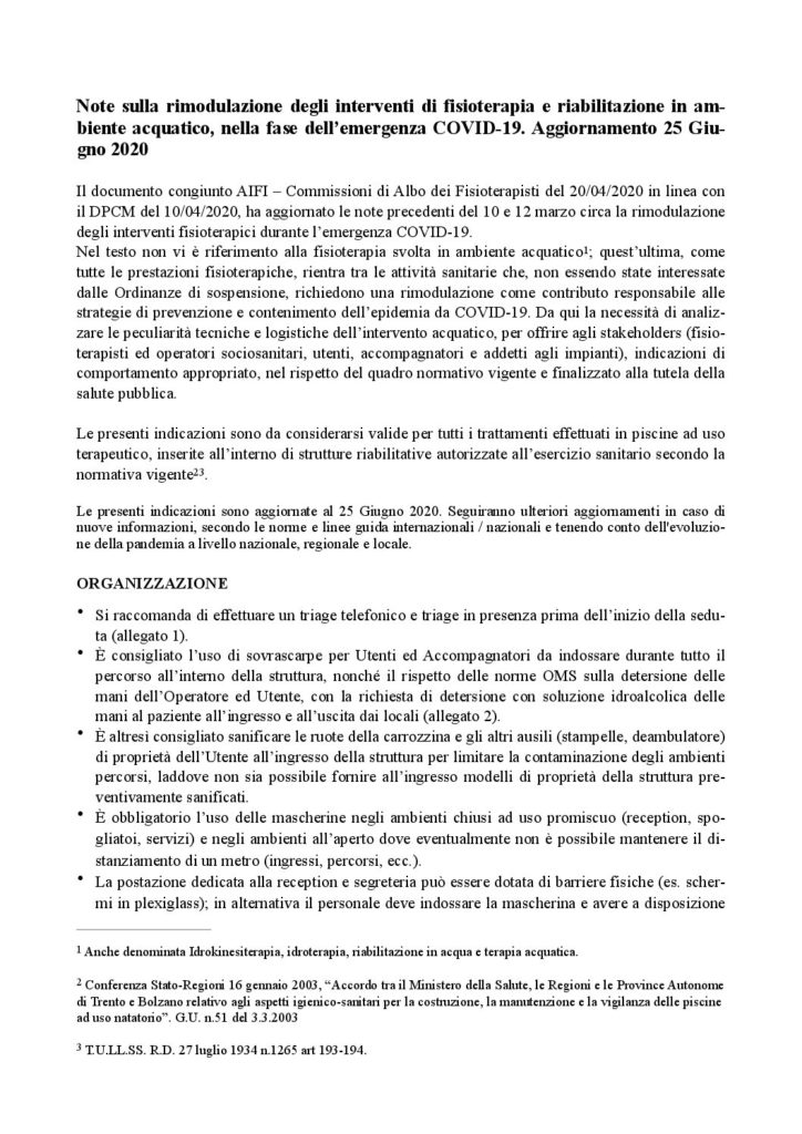Aggiornamento note sulla rimodulazione degli interventi idrokinesiterapici in setting DEF 1 pdf