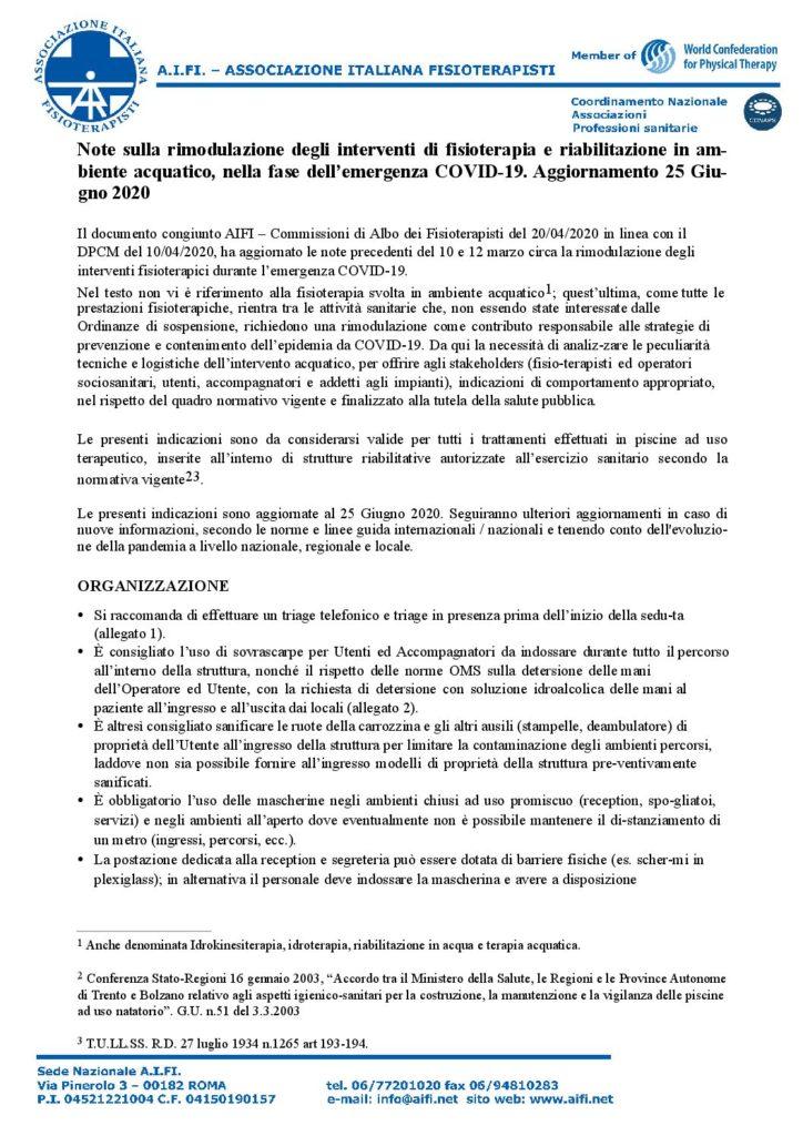 Aggiornamento note sulla rimodulazione degli interventi idrokinesiterapici in setting DEF 2 pdf
