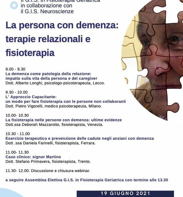 """WEBINAR GRATUITO  """"LA PERSONA CON DEMENZA: TERAPIE RELAZIONALI E FISIOTERAPIA"""""""